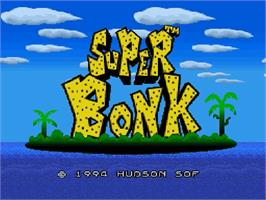 Title screen of Super Bonk on the Nintendo SNES.