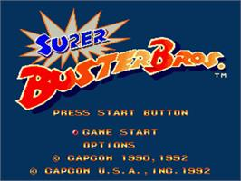 Title screen of Super Buster Bros. on the Nintendo SNES.