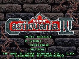 Title screen of Super Castlevania IV on the Nintendo SNES.