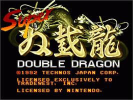 Title screen of Super Double Dragon on the Nintendo SNES.