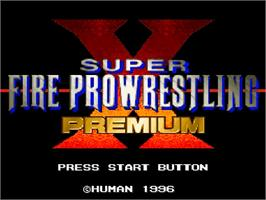 Title screen of Super Fire Pro Wrestling Premium X on the Nintendo SNES.