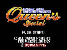 Title screen of Super Fire Pro Wrestling Queen's Special on the Nintendo SNES.