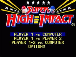 Title screen of Super High Impact on the Nintendo SNES.