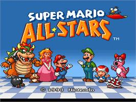Title screen of Super Mario All-Stars on the Nintendo SNES.