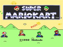 Title screen of Super Mario Kart on the Nintendo SNES.
