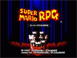 Title screen of Super Mario RPG: Legend of the Seven Stars on the Nintendo SNES.