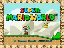 Title screen of Super Mario World on the Nintendo SNES.