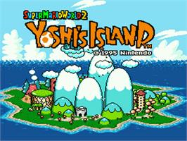 Title screen of Super Mario World 2: Yoshi's Island on the Nintendo SNES.