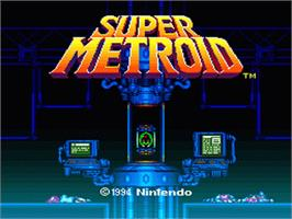 Title screen of Super Metroid on the Nintendo SNES.