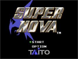 Title screen of Super Nova on the Nintendo SNES.