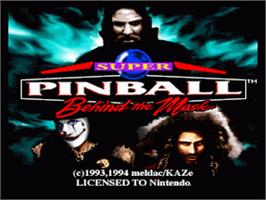 Title screen of Super Pinball: Behind the Mask on the Nintendo SNES.