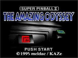 Title screen of Super Pinball II: The Amazing Odyssey on the Nintendo SNES.