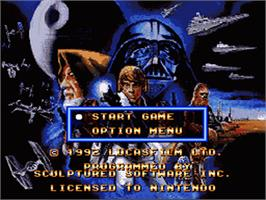 Title screen of Super Star Wars: The Empire Strikes Back on the Nintendo SNES.