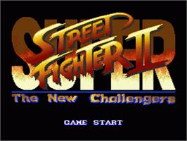 Title screen of Super Street Fighter II: The New Challengers on the Nintendo SNES.
