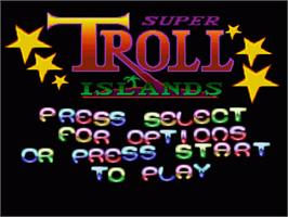 Title screen of Super Troll Islands on the Nintendo SNES.
