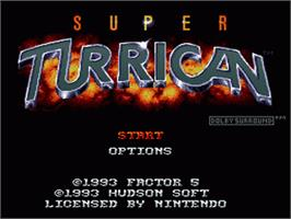 Title screen of Super Turrican on the Nintendo SNES.