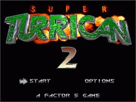 Title screen of Super Turrican 2 on the Nintendo SNES.