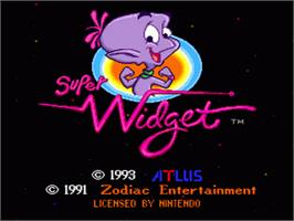 Title screen of Super Widget on the Nintendo SNES.