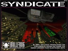 Title screen of Syndicate on the Nintendo SNES.