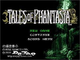 Title screen of Tales of Phantasia on the Nintendo SNES.