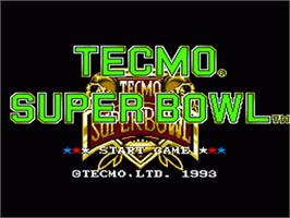 Title screen of Tecmo Super Bowl on the Nintendo SNES.