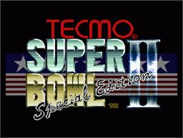 Title screen of Tecmo Super Bowl II: Special Edition on the Nintendo SNES.