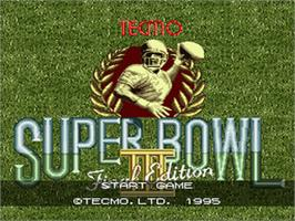 Title screen of Tecmo Super Bowl III: Final Edition on the Nintendo SNES.