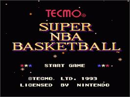 Title screen of Tecmo Super NBA Basketball on the Nintendo SNES.