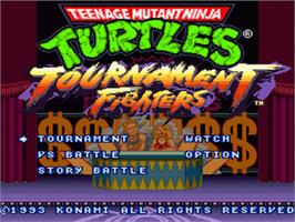 Title screen of Teenage Mutant Ninja Turtles: Tournament Fighters on the Nintendo SNES.