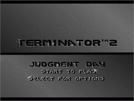 Title screen of Terminator 2: Judgment Day on the Nintendo SNES.