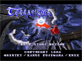 Title screen of Terranigma on the Nintendo SNES.