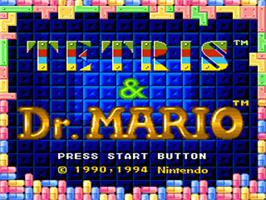 Title screen of Tetris & Dr. Mario on the Nintendo SNES.