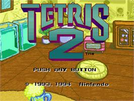 Title screen of Tetris 2 on the Nintendo SNES.
