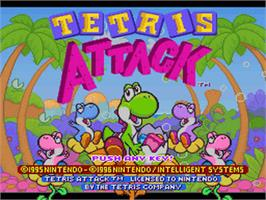 Title screen of Tetris Attack on the Nintendo SNES.