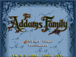 Title screen of The Addams Family on the Nintendo SNES.