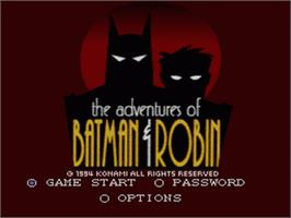 Title screen of The Adventures of Batman and Robin on the Nintendo SNES.