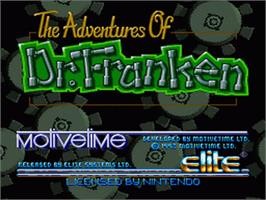 Title screen of The Adventures of Dr. Franken on the Nintendo SNES.