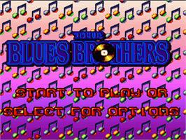 Title screen of The Blues Brothers: Jukebox Adventure on the Nintendo SNES.
