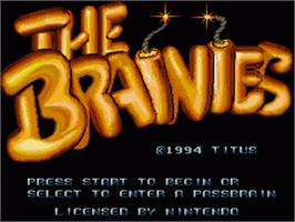 Title screen of The Brainies on the Nintendo SNES.