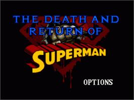 Title screen of The Death and Return of Superman on the Nintendo SNES.