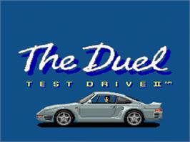 Title screen of The Duel: Test Drive II on the Nintendo SNES.