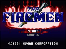Title screen of The Firemen on the Nintendo SNES.