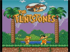 Title screen of The Flintstones: The Treasure of Sierra Madrock on the Nintendo SNES.