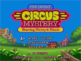 Title screen of The Great Circus Mystery starring Mickey and Minnie Mouse on the Nintendo SNES.