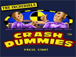 Title screen of The Incredible Crash Dummies on the Nintendo SNES.