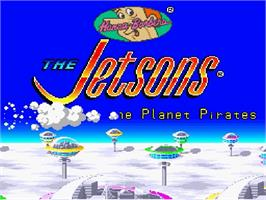 Title screen of The Jetsons: Invasion of the Planet Pirates on the Nintendo SNES.