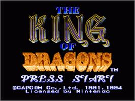Title screen of The King of Dragons on the Nintendo SNES.