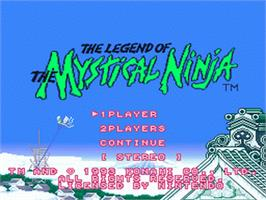 Title screen of The Legend of the Mystical Ninja on the Nintendo SNES.