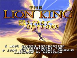 Title screen of The Lion King on the Nintendo SNES.