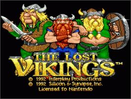 Title screen of The Lost Vikings on the Nintendo SNES.